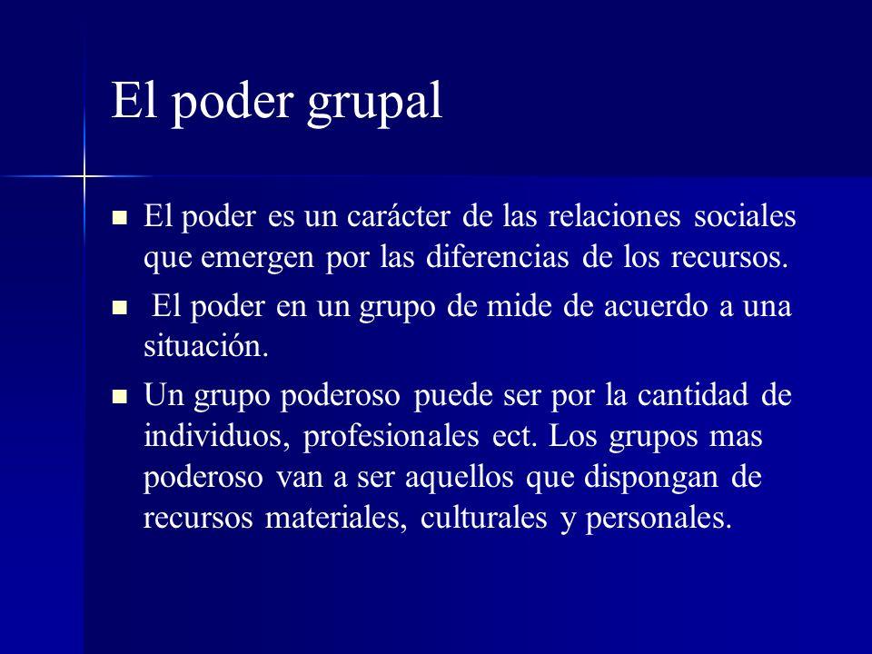 El poder grupal El poder es un carácter de las relaciones sociales que emergen por las diferencias de los recursos.