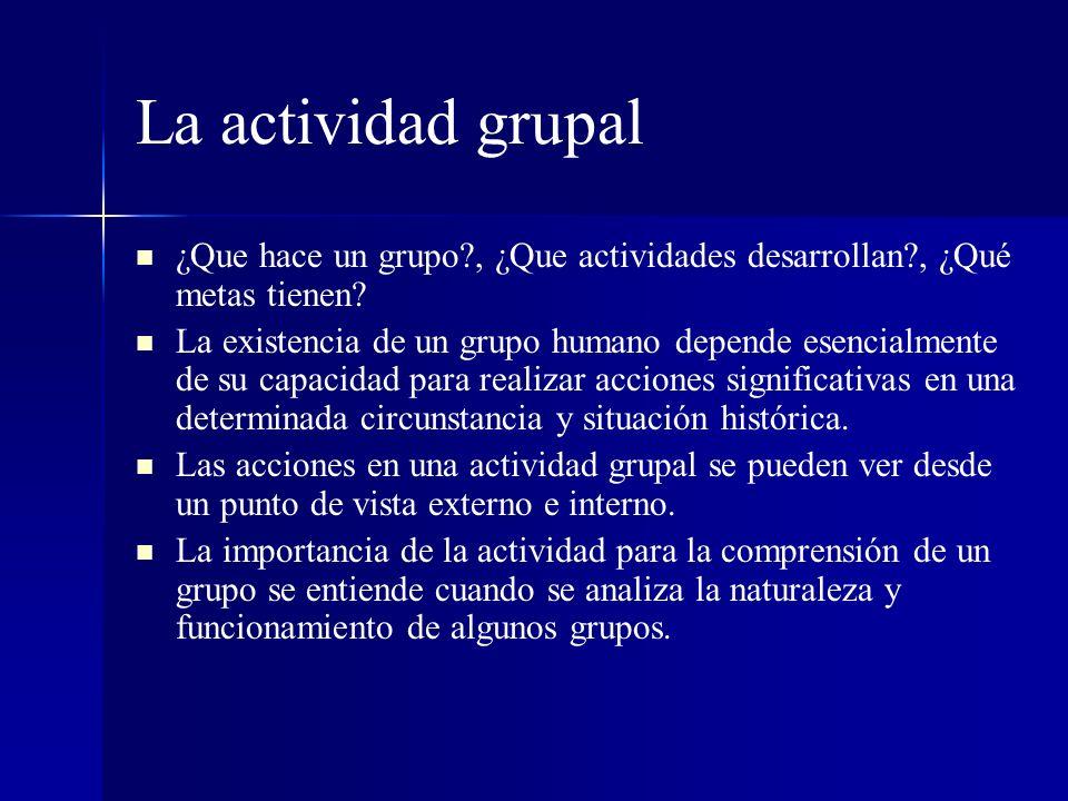 La actividad grupal ¿Que hace un grupo , ¿Que actividades desarrollan , ¿Qué metas tienen