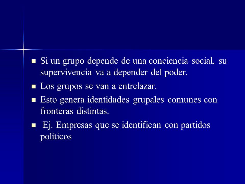 Si un grupo depende de una conciencia social, su supervivencia va a depender del poder.