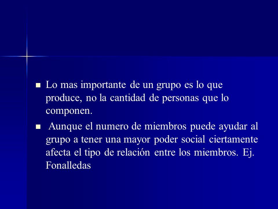 Lo mas importante de un grupo es lo que produce, no la cantidad de personas que lo componen.