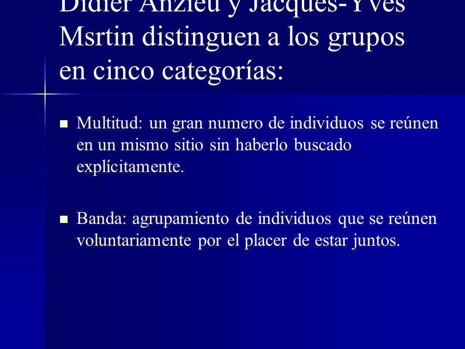 Didier Anzieu y Jacques-Yves Msrtin distinguen a los grupos en cinco categorías: