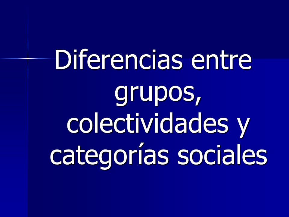 Diferencias entre grupos, colectividades y categorías sociales