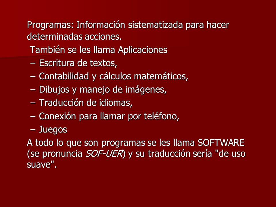 Programas: Información sistematizada para hacer determinadas acciones.