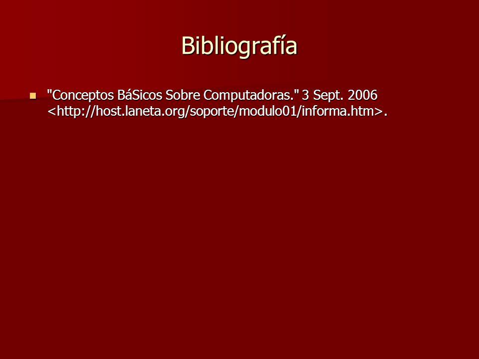 Bibliografía Conceptos BáSicos Sobre Computadoras. 3 Sept.