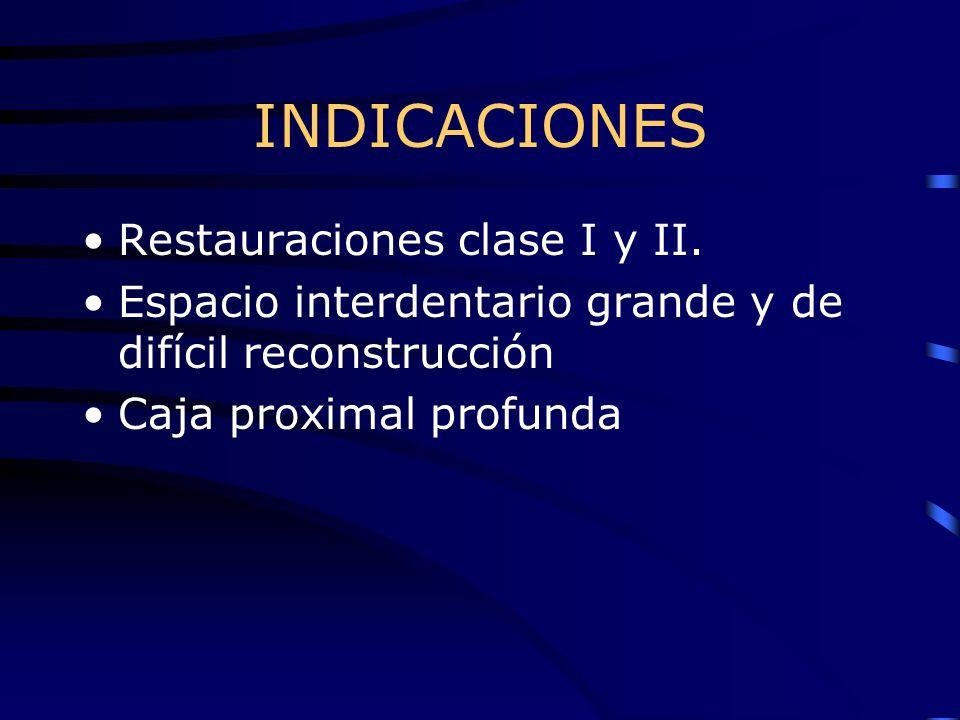 INDICACIONES Restauraciones clase I y II.
