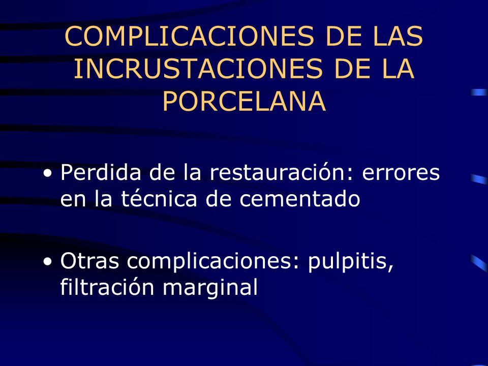 COMPLICACIONES DE LAS INCRUSTACIONES DE LA PORCELANA