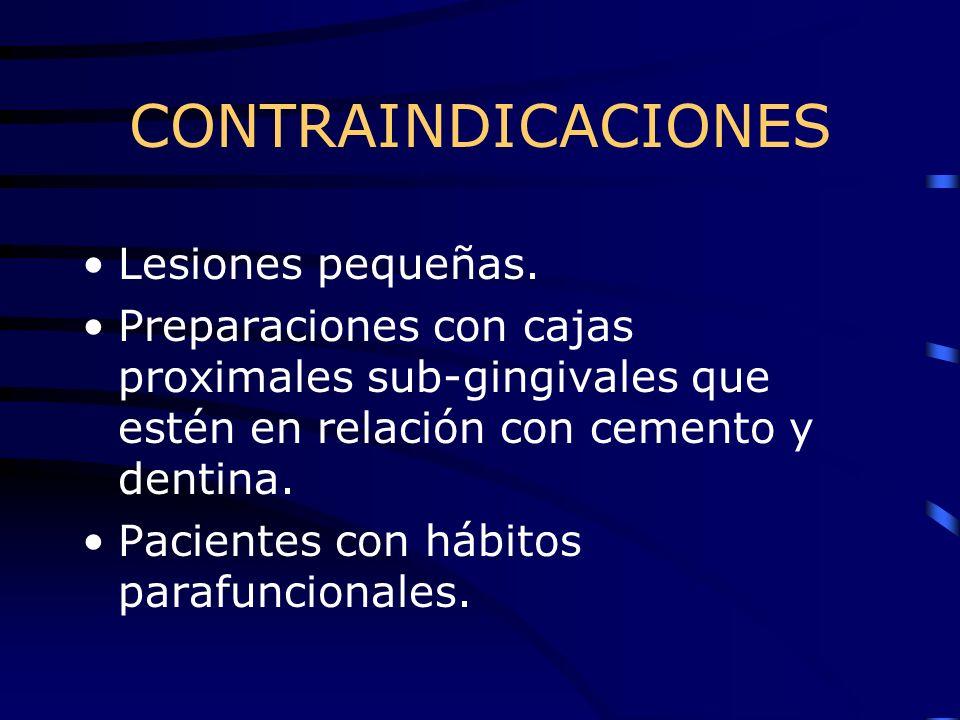 CONTRAINDICACIONES Lesiones pequeñas.