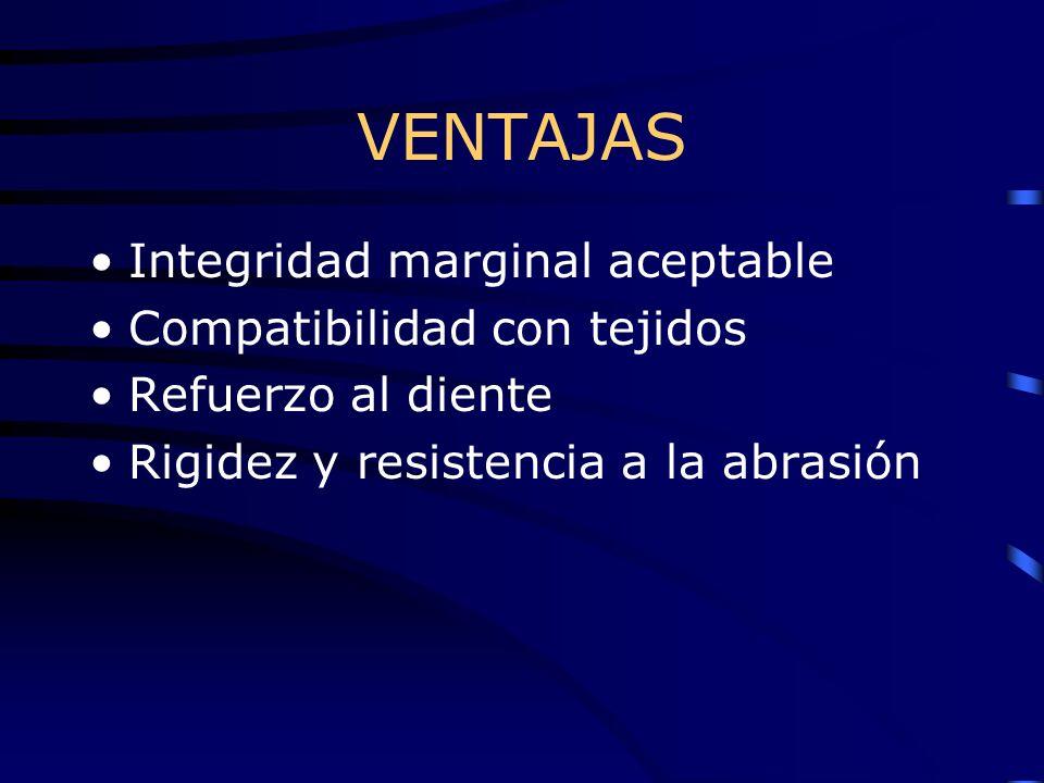 VENTAJAS Integridad marginal aceptable Compatibilidad con tejidos