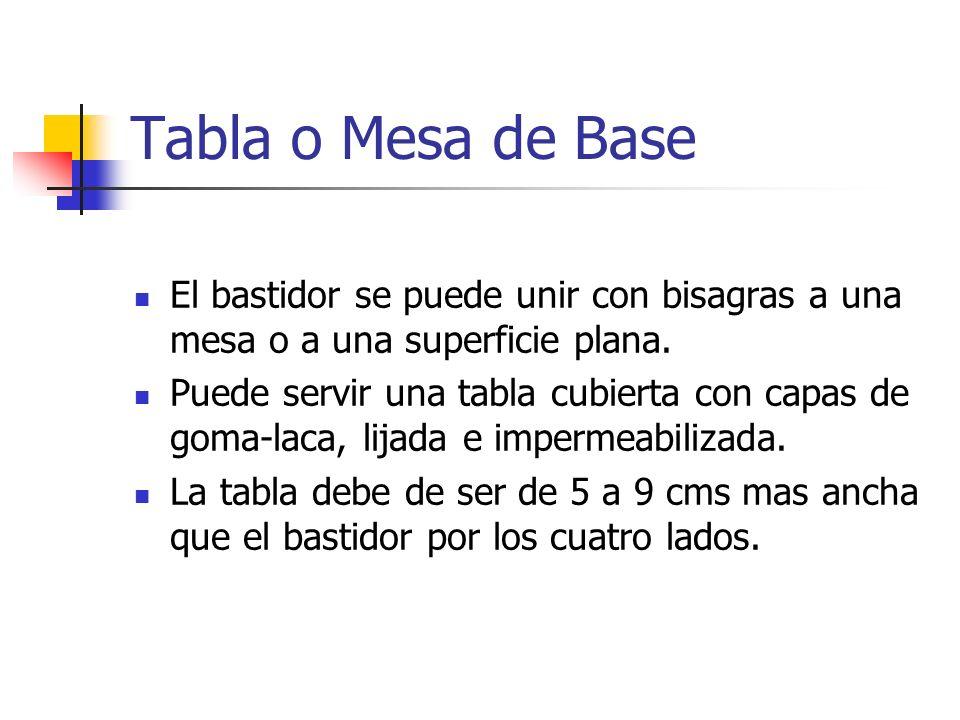 Tabla o Mesa de Base El bastidor se puede unir con bisagras a una mesa o a una superficie plana.