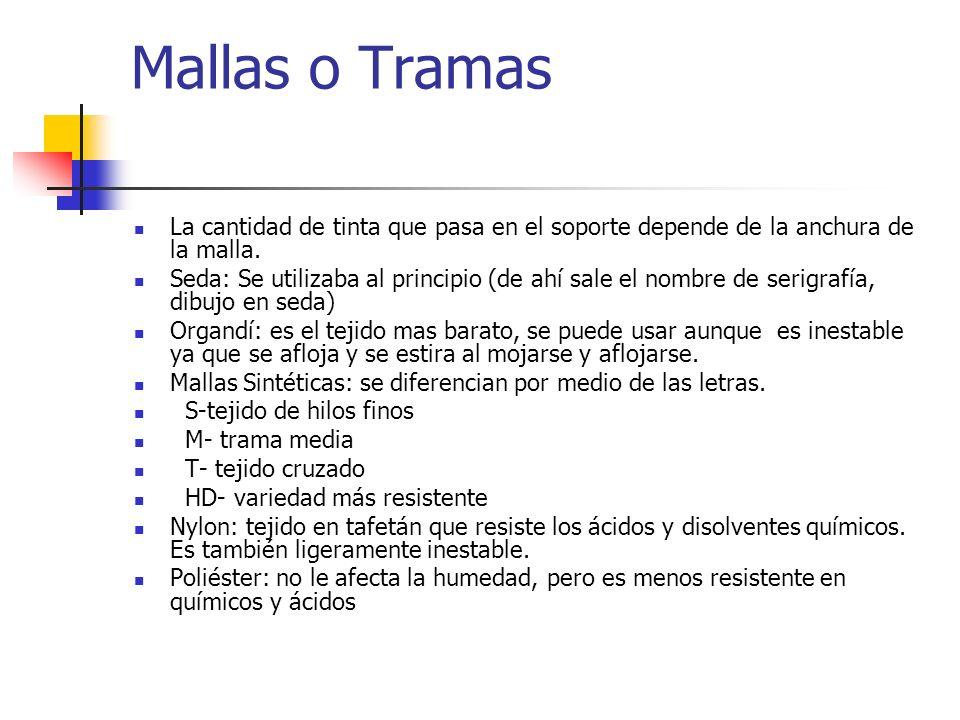 Mallas o Tramas La cantidad de tinta que pasa en el soporte depende de la anchura de la malla.