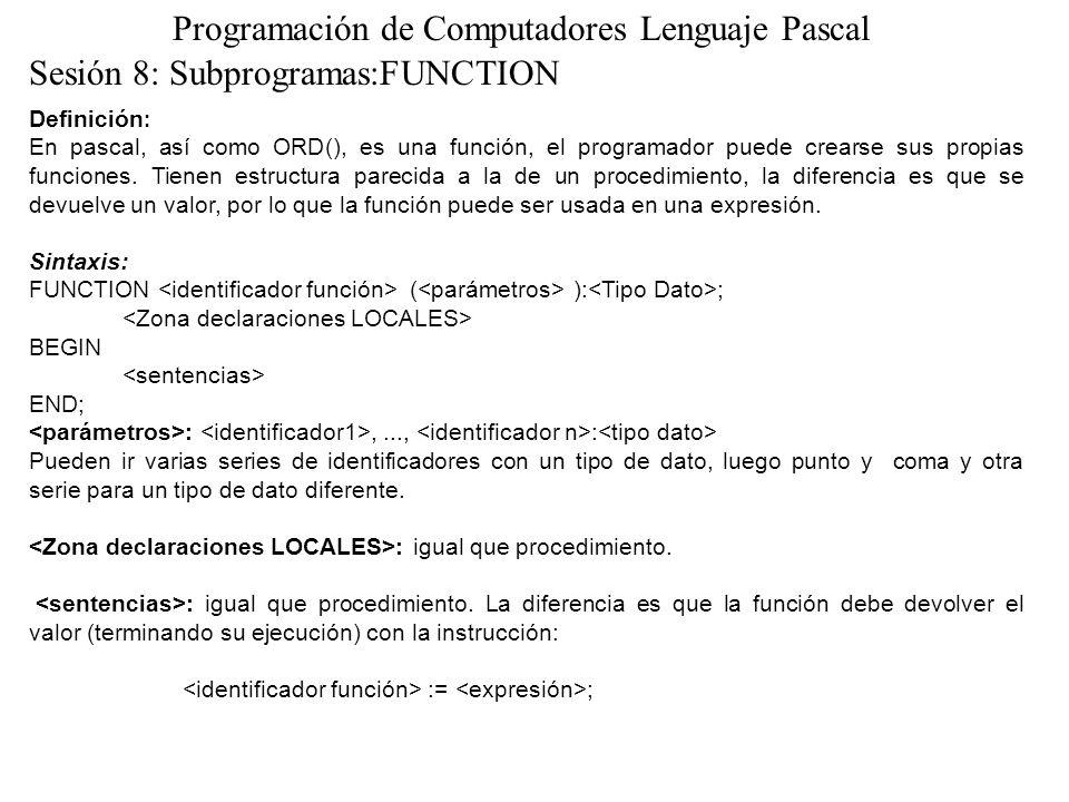 Programación de Computadores Lenguaje Pascal