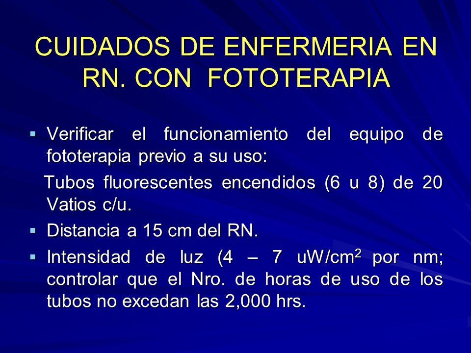 CUIDADOS DE ENFERMERIA EN RN. CON FOTOTERAPIA