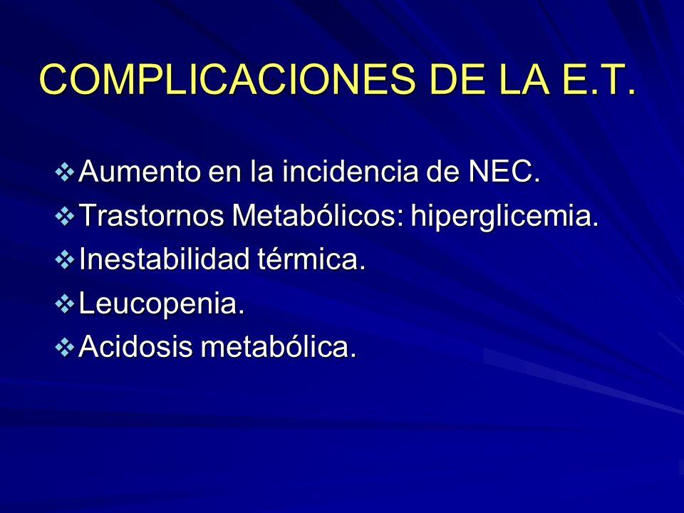 COMPLICACIONES DE LA E.T.