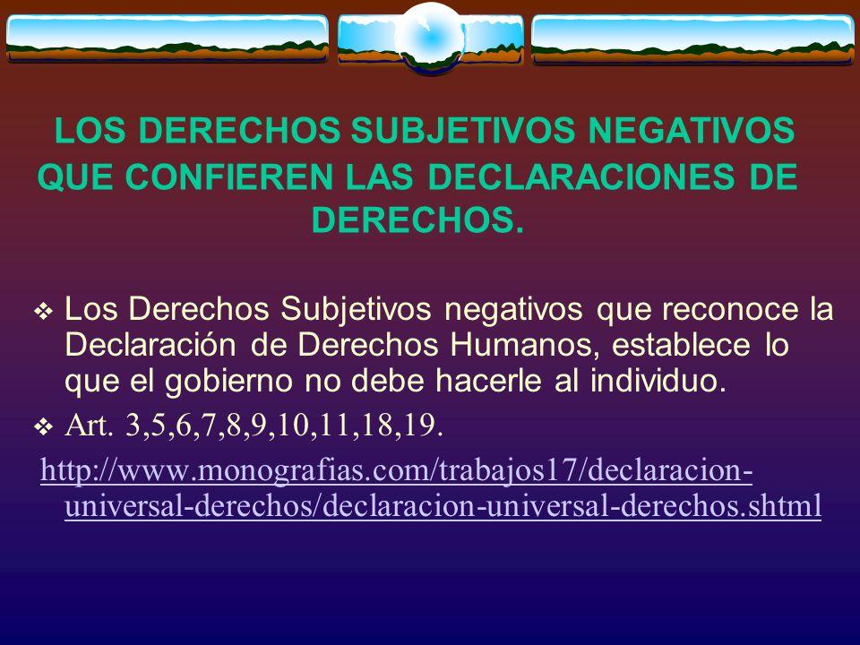 LOS DERECHOS SUBJETIVOS NEGATIVOS QUE CONFIEREN LAS DECLARACIONES DE DERECHOS.