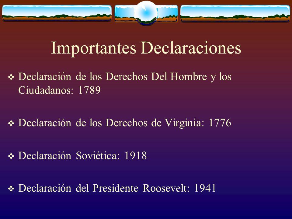 Importantes Declaraciones