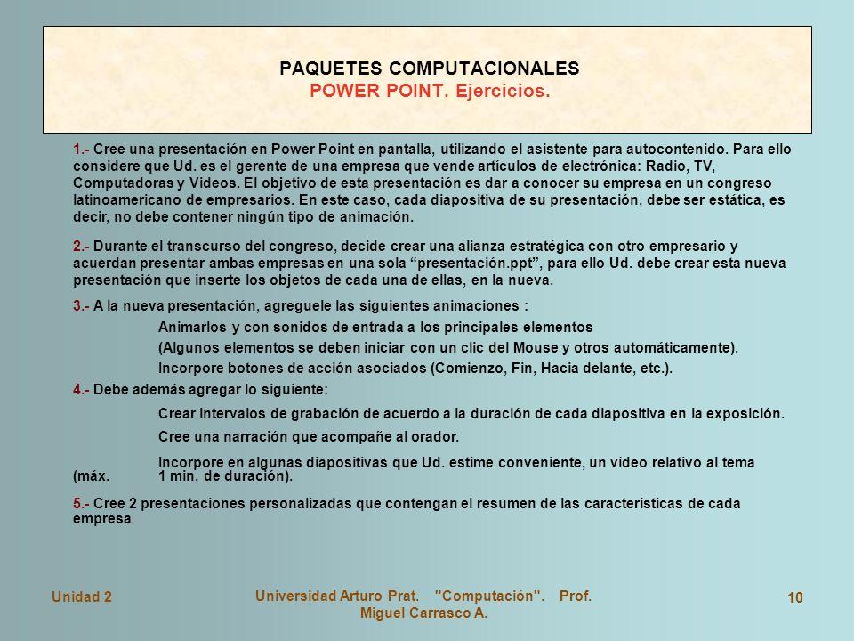 PAQUETES COMPUTACIONALES POWER POINT. Ejercicios.