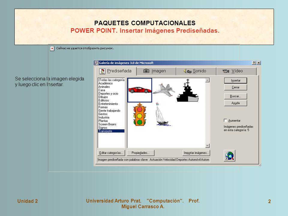 PAQUETES COMPUTACIONALES POWER POINT. Insertar Imágenes Prediseñadas.