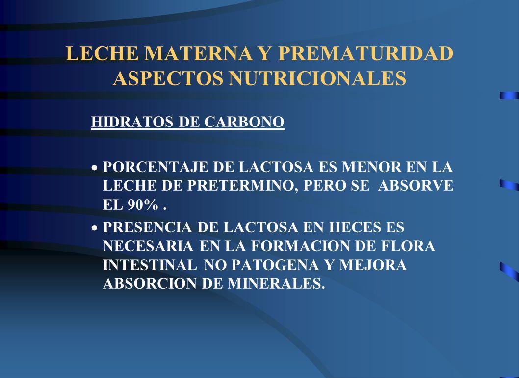 LECHE MATERNA Y PREMATURIDAD ASPECTOS NUTRICIONALES