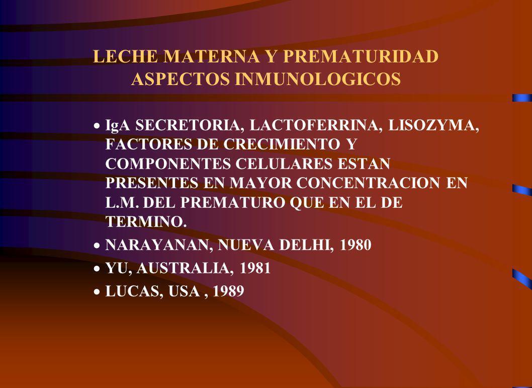 LECHE MATERNA Y PREMATURIDAD ASPECTOS INMUNOLOGICOS