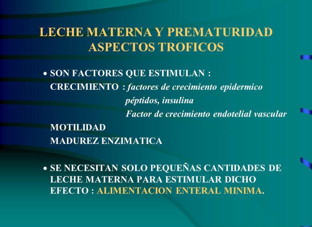 LECHE MATERNA Y PREMATURIDAD ASPECTOS TROFICOS