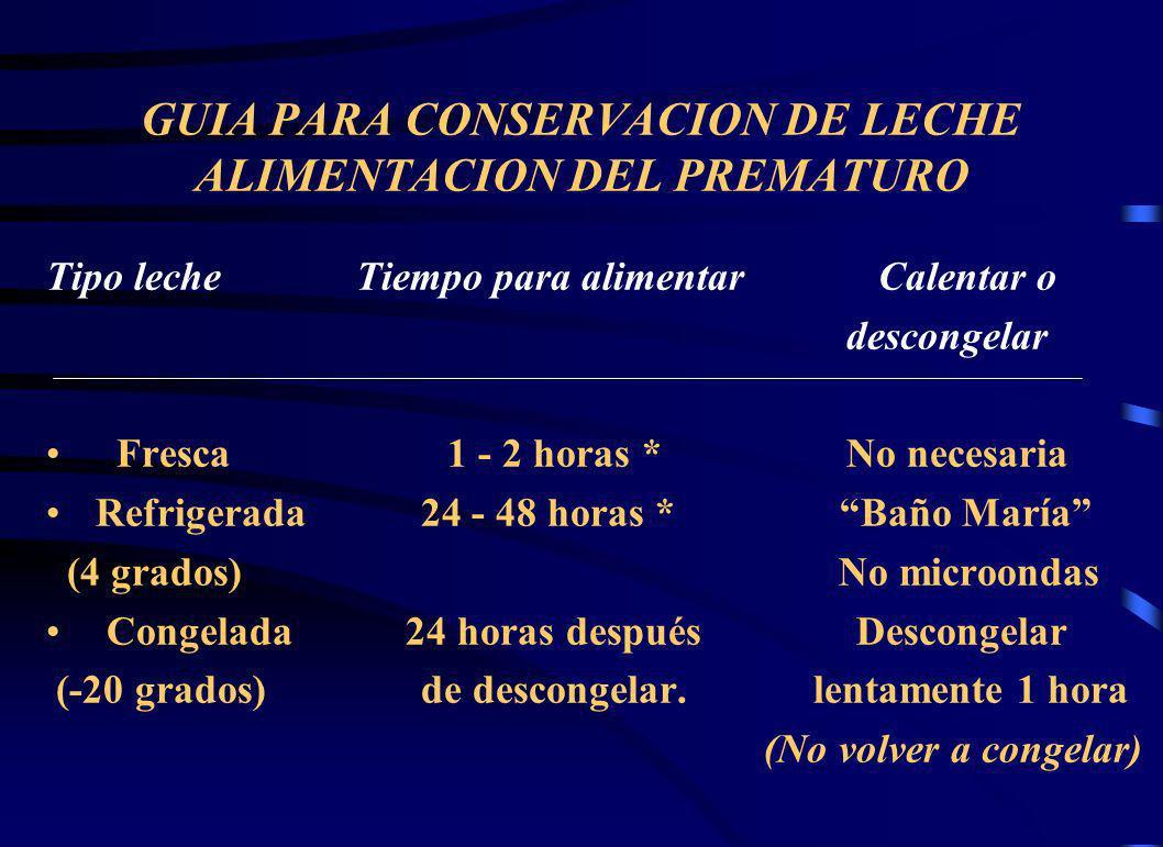GUIA PARA CONSERVACION DE LECHE ALIMENTACION DEL PREMATURO