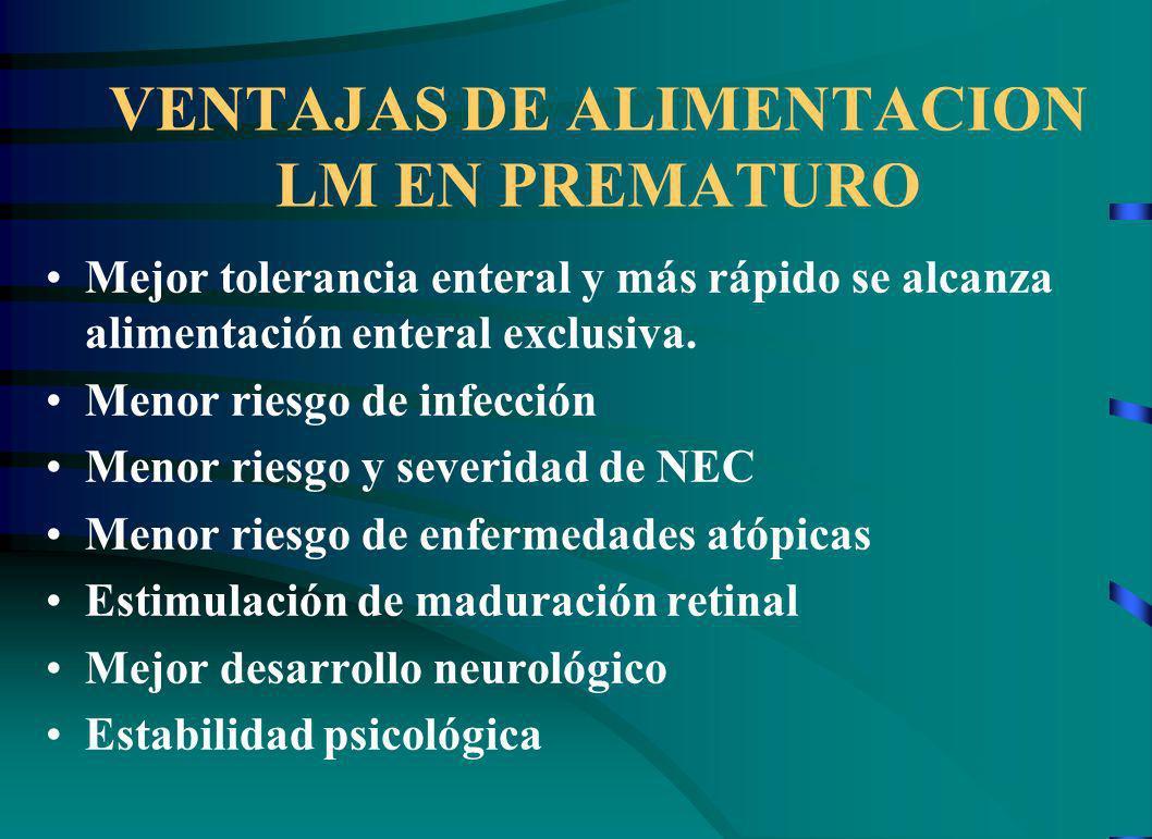 VENTAJAS DE ALIMENTACION LM EN PREMATURO