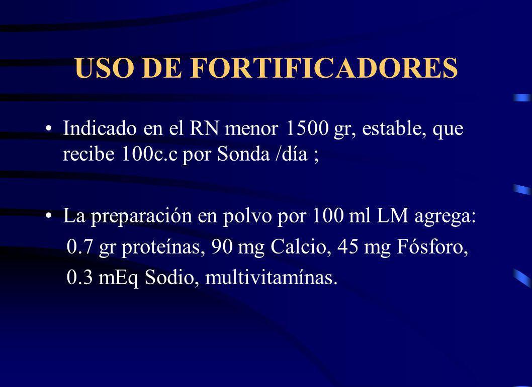 USO DE FORTIFICADORES Indicado en el RN menor 1500 gr, estable, que recibe 100c.c por Sonda /día ; La preparación en polvo por 100 ml LM agrega: