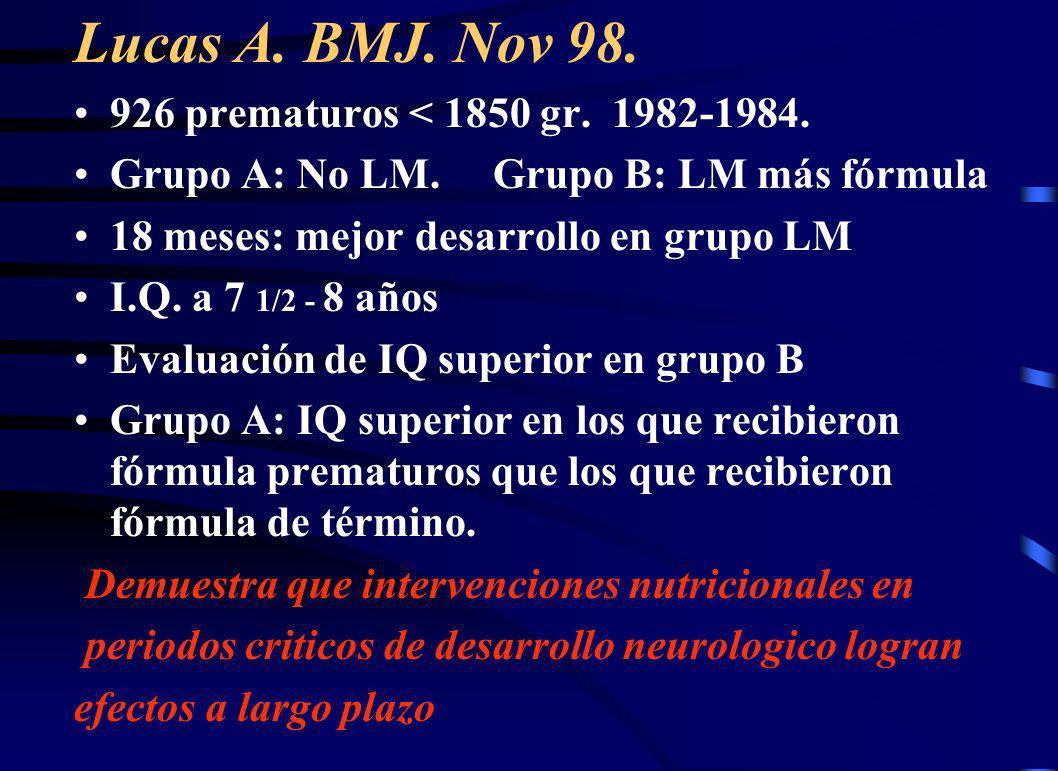 Lucas A. BMJ. Nov 98. 926 prematuros < 1850 gr. 1982-1984.