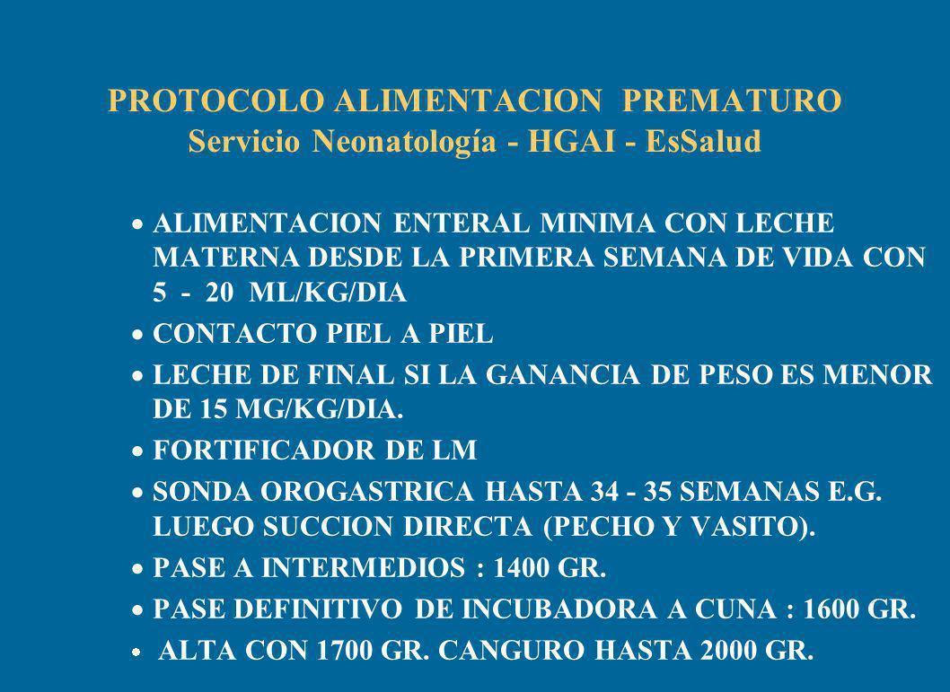 PROTOCOLO ALIMENTACION PREMATURO Servicio Neonatología - HGAI - EsSalud