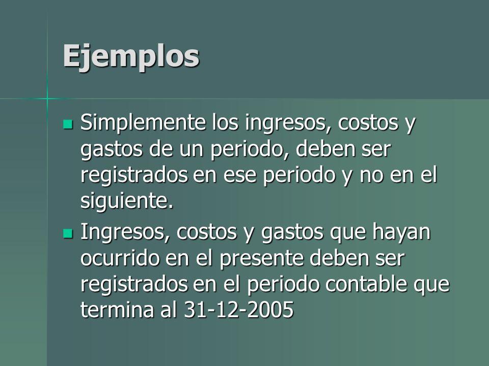 Ejemplos Simplemente los ingresos, costos y gastos de un periodo, deben ser registrados en ese periodo y no en el siguiente.