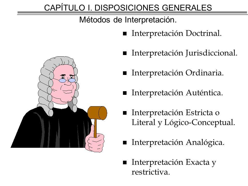 CAPÍTULO I. DISPOSICIONES GENERALES Métodos de Interpretación.