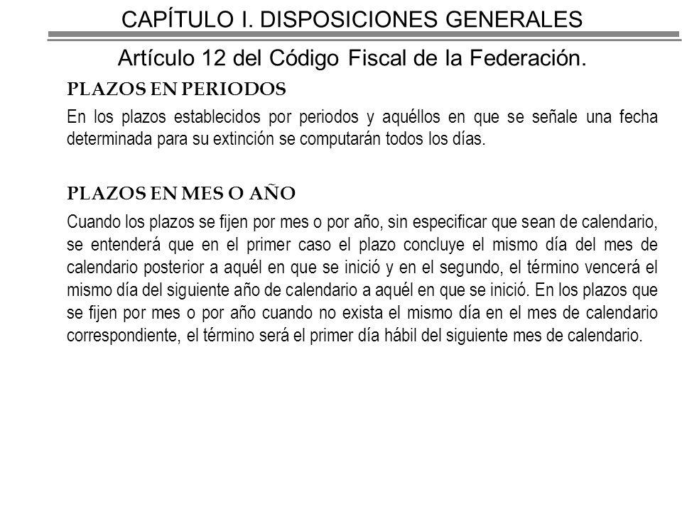 CAPÍTULO I. DISPOSICIONES GENERALES Artículo 12 del Código Fiscal de la Federación.