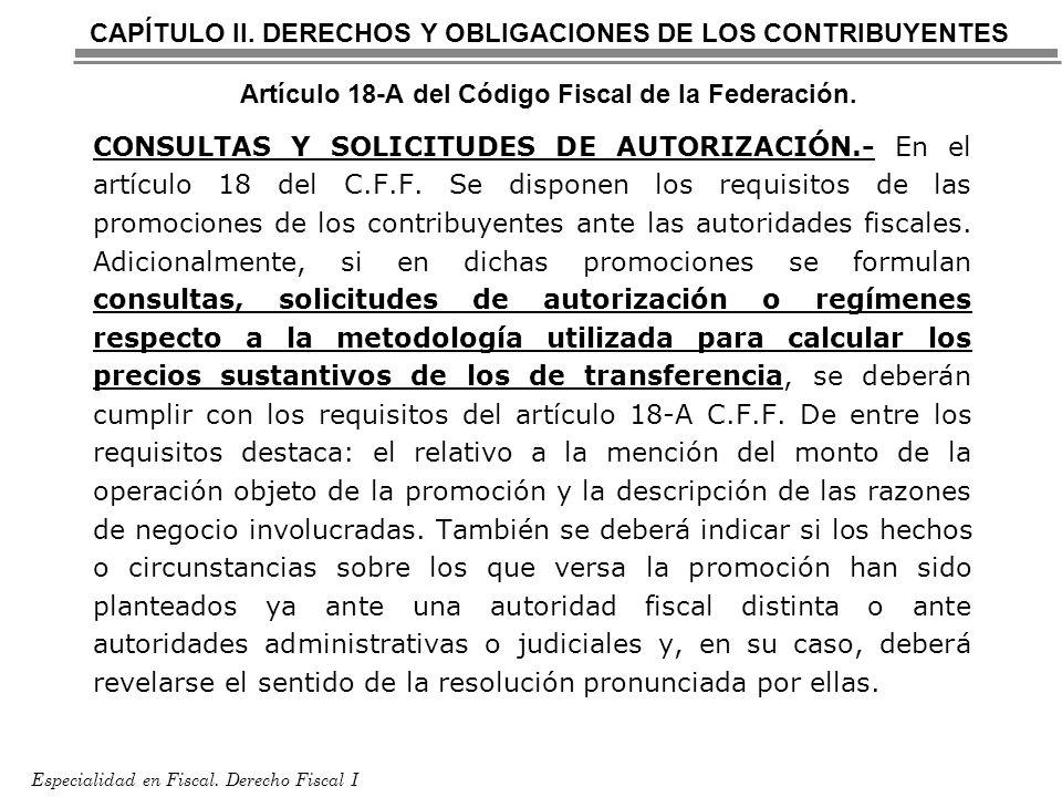 Especialidad en Fiscal. Derecho Fiscal I