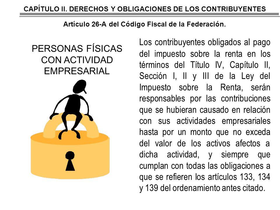 CAPÍTULO II. DERECHOS Y OBLIGACIONES DE LOS CONTRIBUYENTES Artículo 26-A del Código Fiscal de la Federación.