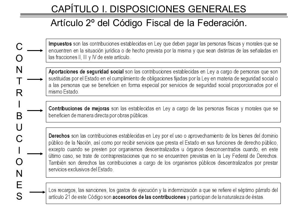 CAPÍTULO I. DISPOSICIONES GENERALES Artículo 2º del Código Fiscal de la Federación.
