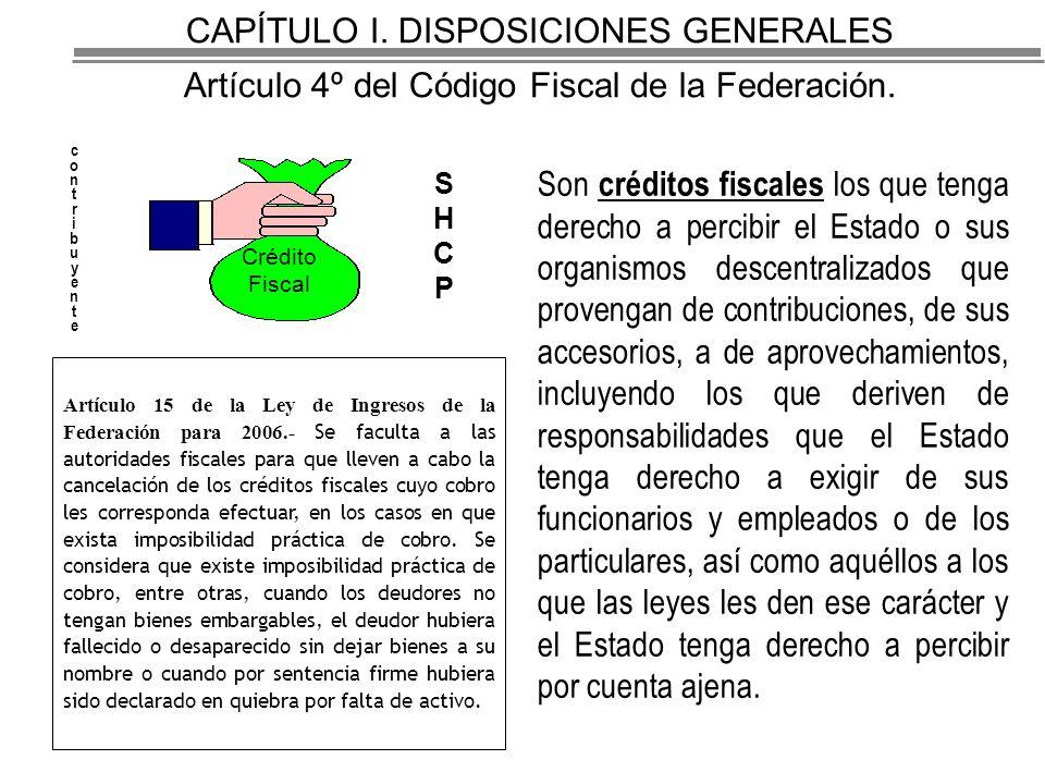 CAPÍTULO I. DISPOSICIONES GENERALES Artículo 4º del Código Fiscal de la Federación.