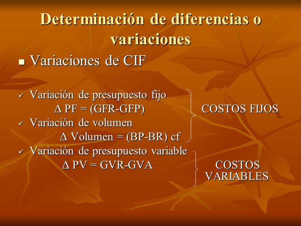 Determinación de diferencias o variaciones
