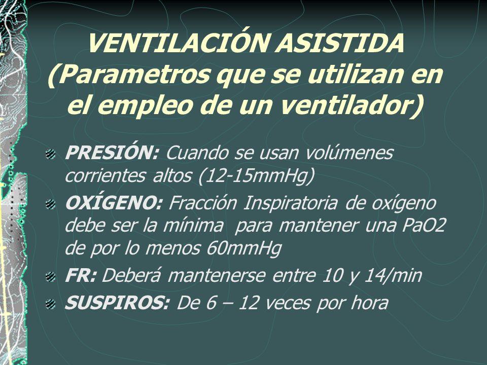 VENTILACIÓN ASISTIDA (Parametros que se utilizan en el empleo de un ventilador)