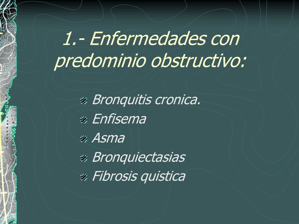 1.- Enfermedades con predominio obstructivo: