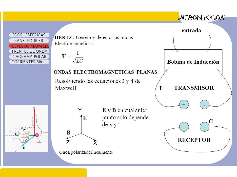 Resolviendo las ecuaciones 3 y 4 de Maxwell L