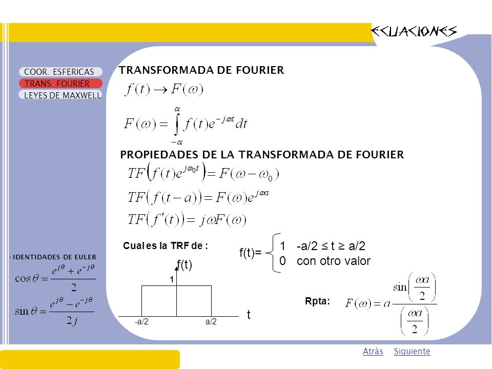 1 -a/2 ≤ t ≥ a/2 f(t)= 0 con otro valor f(t) t TRANSFORMADA DE FOURIER
