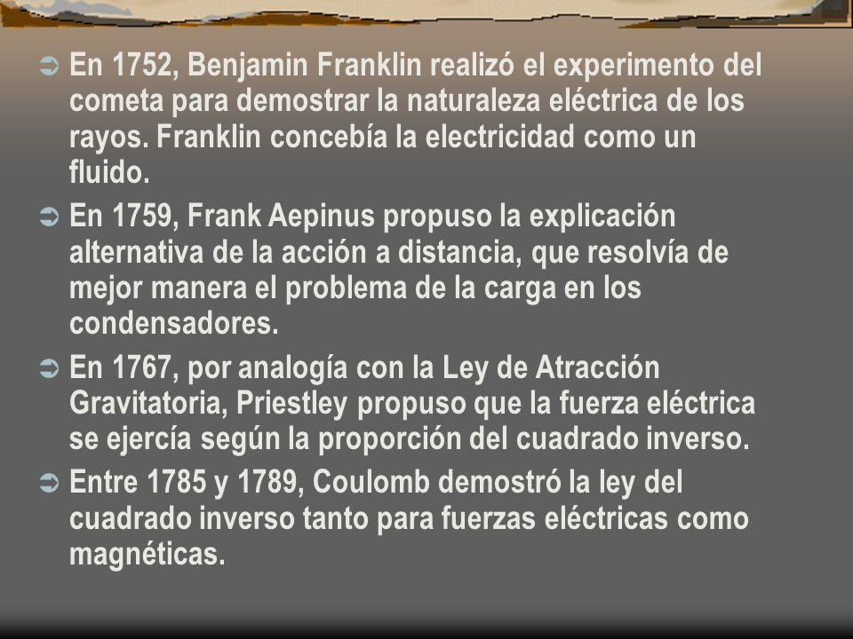 En 1752, Benjamin Franklin realizó el experimento del cometa para demostrar la naturaleza eléctrica de los rayos. Franklin concebía la electricidad como un fluido.
