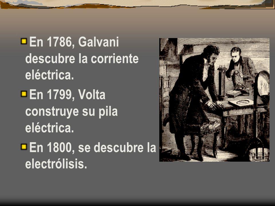 En 1786, Galvani descubre la corriente eléctrica.