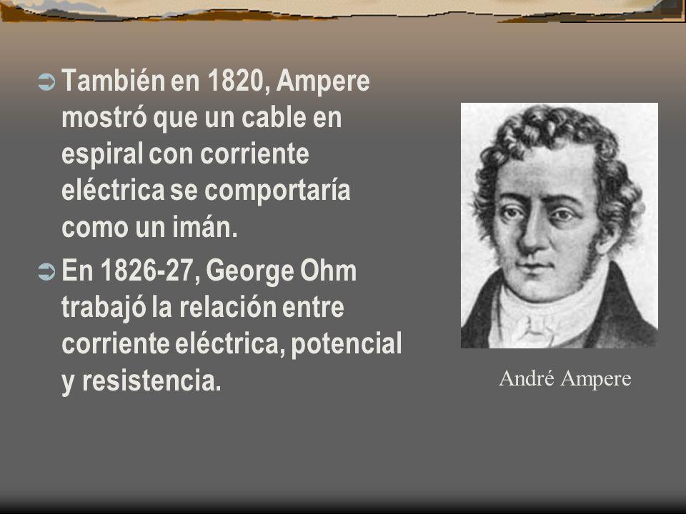 También en 1820, Ampere mostró que un cable en espiral con corriente eléctrica se comportaría como un imán.