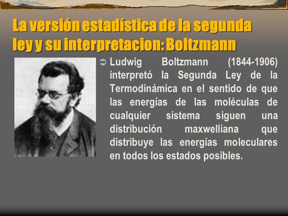 La versión estadística de la segunda ley y su interpretacion: Boltzmann