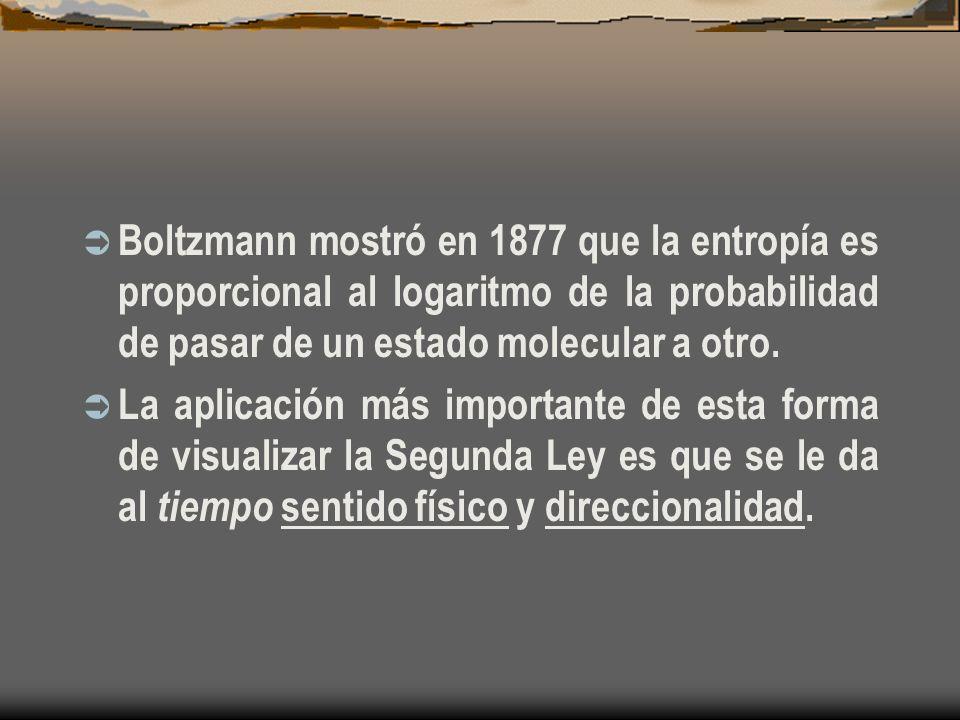 Boltzmann mostró en 1877 que la entropía es proporcional al logaritmo de la probabilidad de pasar de un estado molecular a otro.