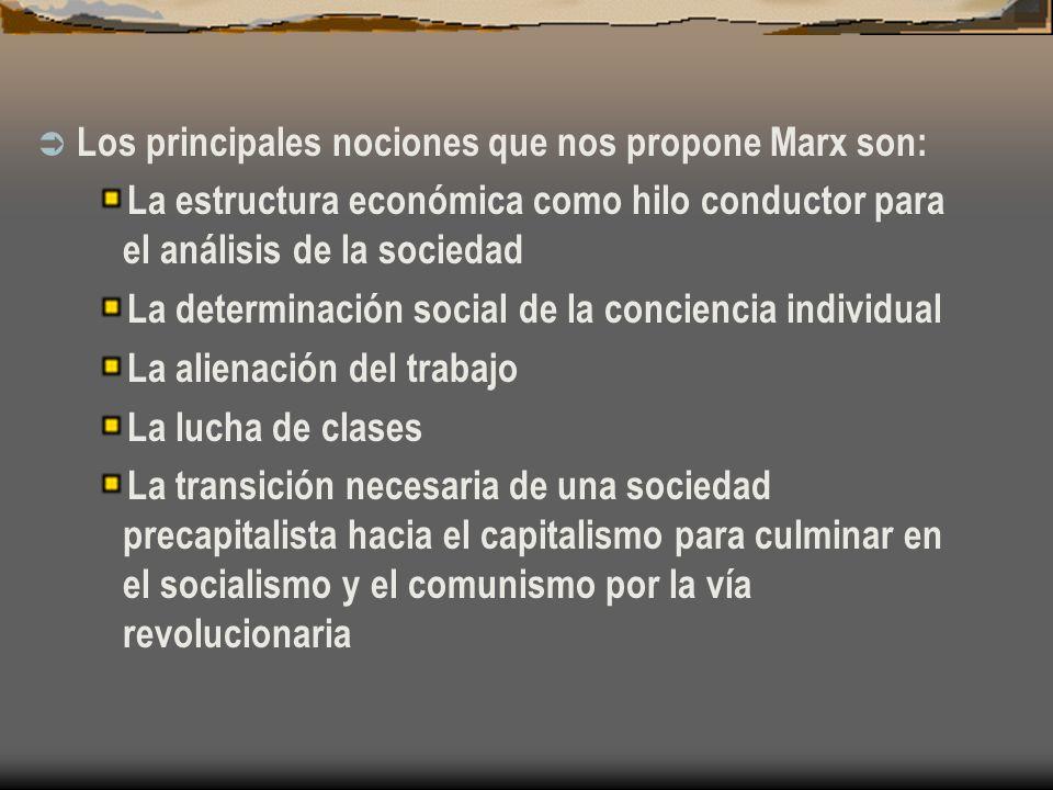 Los principales nociones que nos propone Marx son: