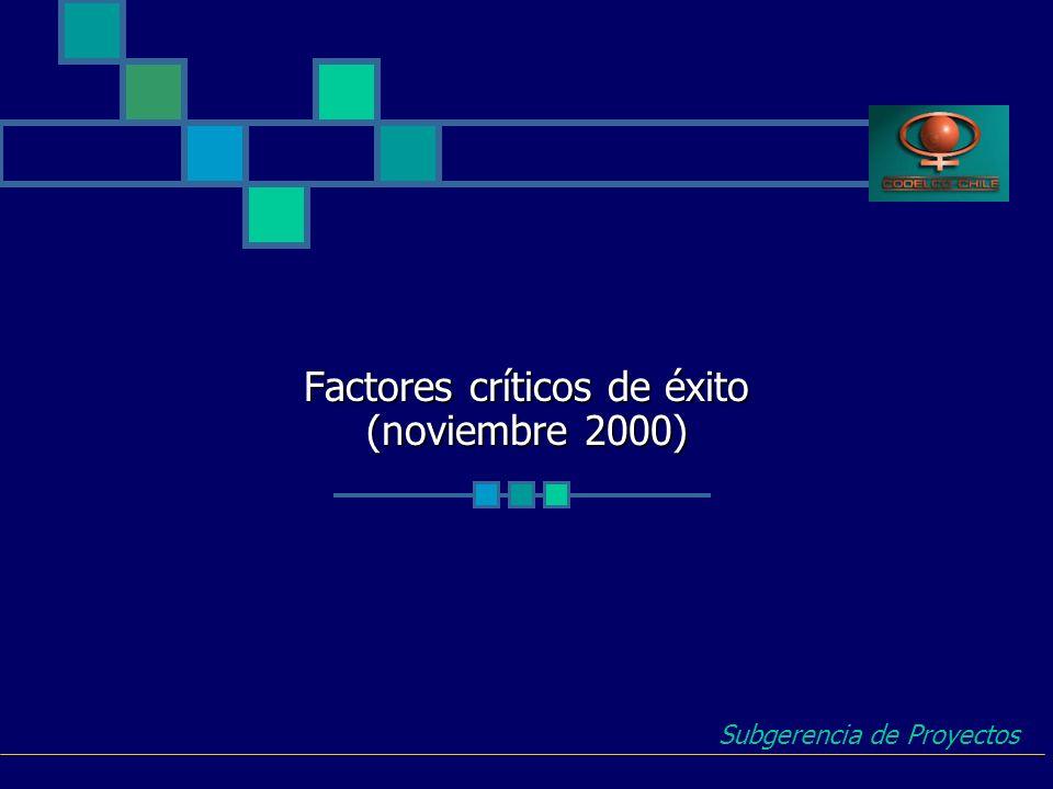 Factores críticos de éxito (noviembre 2000)