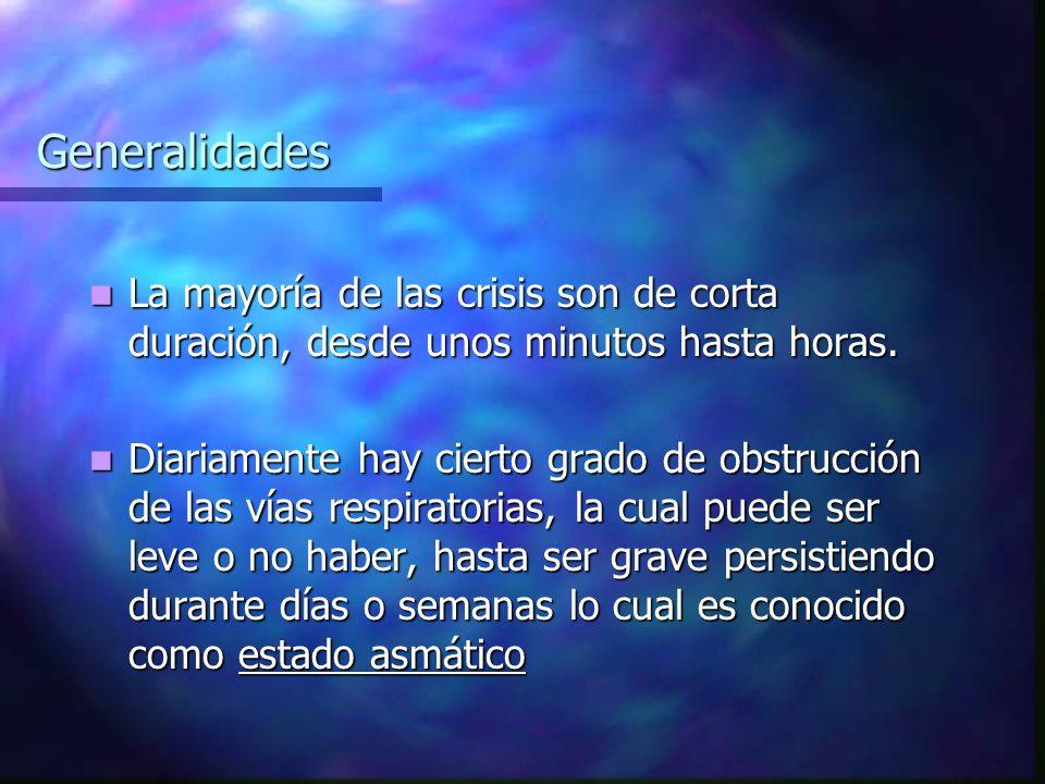 Generalidades La mayoría de las crisis son de corta duración, desde unos minutos hasta horas.