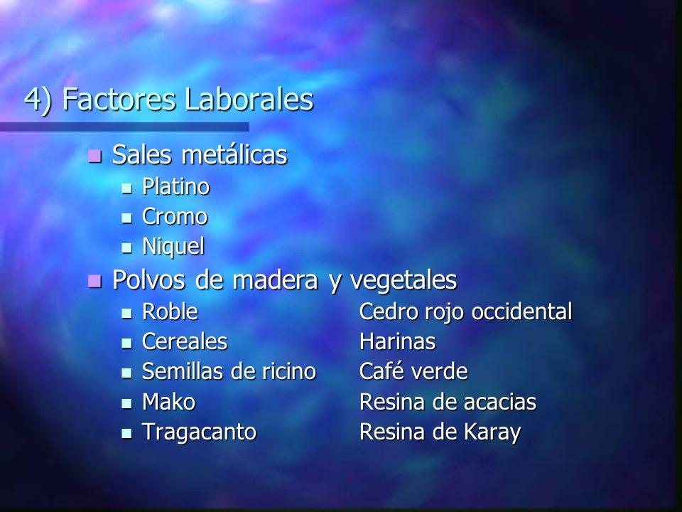 4) Factores Laborales Sales metálicas Polvos de madera y vegetales